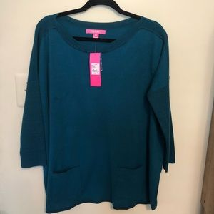 NWT Lilly Pulitzer Emerald Blue Tunic Sweater